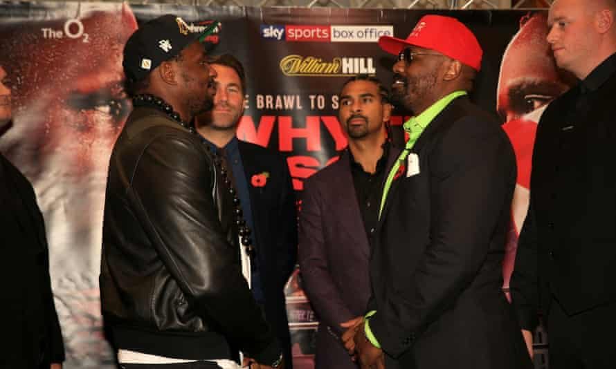 Dillian Whyte and Dereck Chisora face off during the press conference.