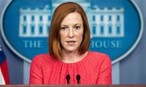 Jen Psaki in the White House Press Briefing Room.