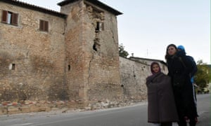 People left homeless by the earthquake near Norcia in central Italy.
