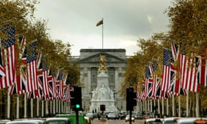 The Mall London, with US and British flags