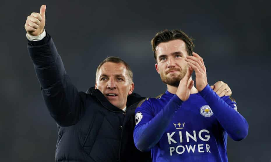 Brendan Rodgers and Ben Chilwell celebrate after beating West Ham in January