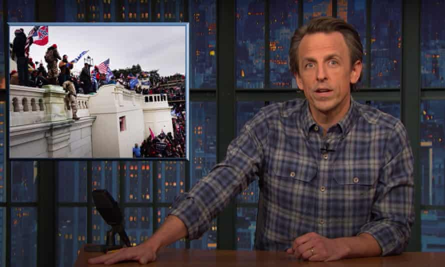 """Seth Meyers: """"Just because these people are brain-dead morons with sludge in their skulls doesn't mean they're not also violent seditionists. It can be a coup even if most of the people leading the coup are dumb."""""""