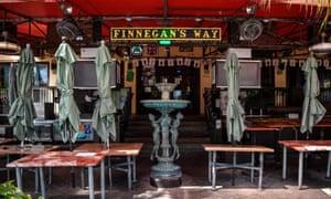 A closed restaurant on Ocean drive in Miami, last week.