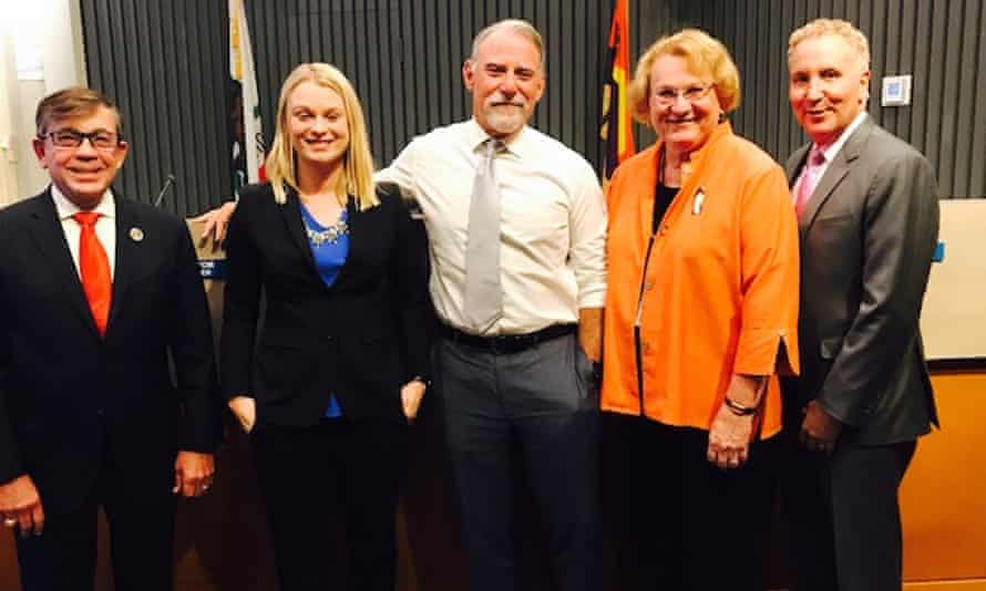 Mayor Robert Moon, left, and the rest of Palm Springs' new all-LGBT city council: Christy Gilbert Holstege, JR Roberts, Lisa Middleton, Geoff Kors.