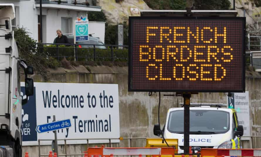 A sign at the Port of Dover after France closed its borders over concerns about a new coronavirus variant, December 2020