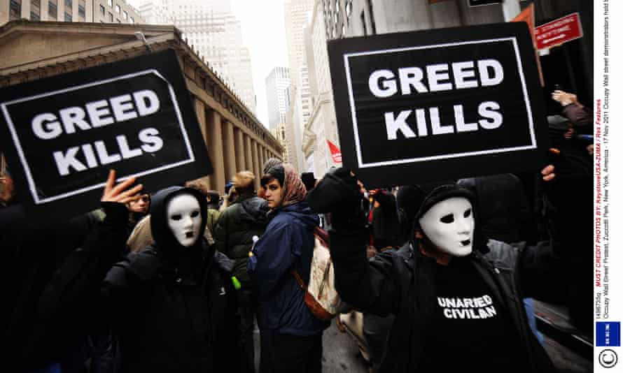 Occupy Wall street demonstrators take to the streets in New York in 2011.