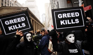 Demonstrators in New York during the Occupy Wall Street protests. Critics argue the new bill will increase the risk of future taxpayer bailouts for banks.