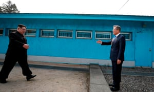 North Korea's leader Kim Jong-un crosses the border between to shake hands with South Korea's President Moon Jae-in