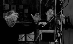 Violinist Kati Debretzeni, right, in the recording studio with John Eliot Gardiner.