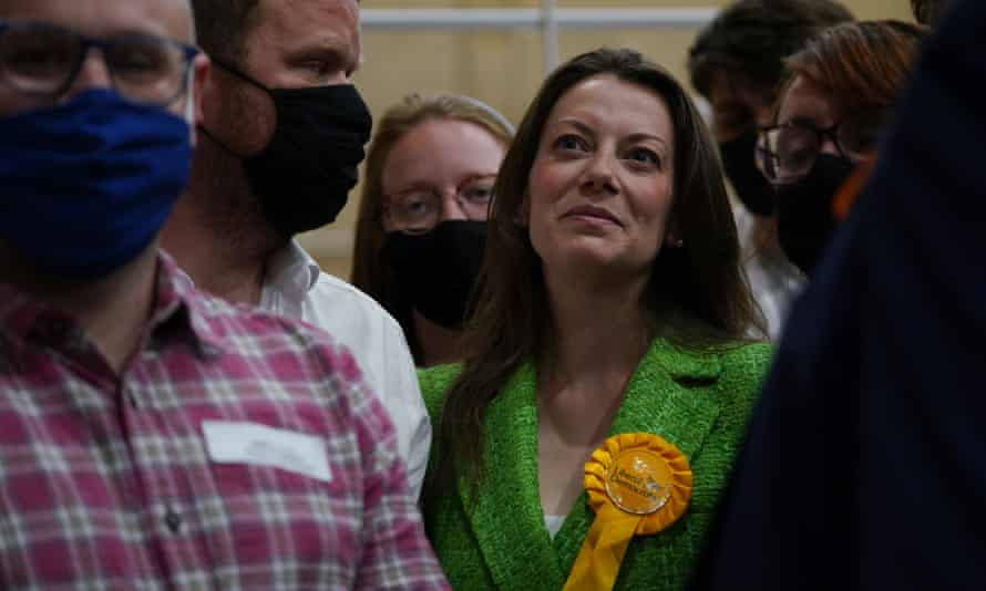 Sarah Green of the Lib Dems after being declared winner in the Chesham and Amersham vote.