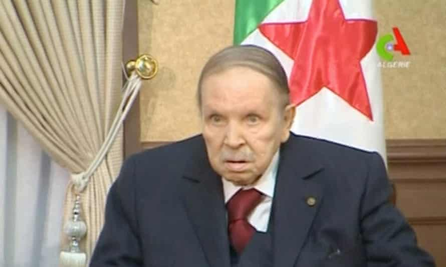 Algeria's president Abdelaziz Bouteflika at a meeting with the army chief of staff in Algiers on 11 March.