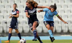 Danielle Weatherholt battles for the ball with Teresa Polias during Sunday's W-League match between Melbourne Victory and Sydney FC at Lakeside Stadium in Melbourne.