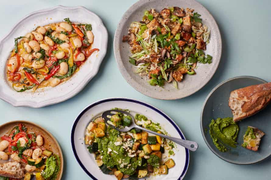Bryant Terry's warm vegan salads: butter bean salad with roasted peppers (top left), roast courgettes with collard-peanut pesto (bottom) and dirty cauliflower with tempeh and porcini mushrooms.