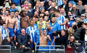 The celebrations begin at the Amex Stadium after Brighton's promotion to the Premier League