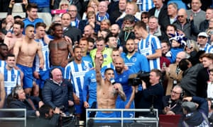 Anthony Knockaert leads the celebrations after Brighton's promotion was confirmed on 17 April 2017