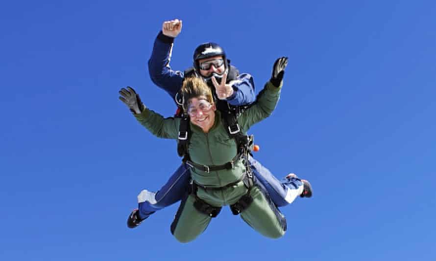 An old lady practicing skydivingTandem skydiving