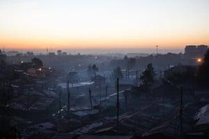 A hazy winter dawn over Kibera in February 2019.