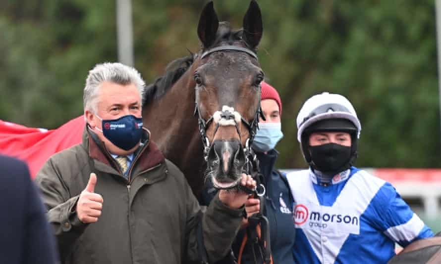 Paul Nicholls with Frodon and Bryony Frost after winning the King George Vl Chase at Kempton.