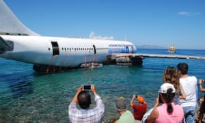 The Airbus A300 plane being sunk off