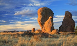 Standing rocks (hardened volcanic tuff) and grasses, City of Rocks State Park, near Silver City, New Mexico.