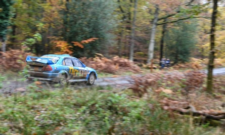 A rally car on the Crabtree stage of the 2016 Wyedean Rally in the Forest of Dean.