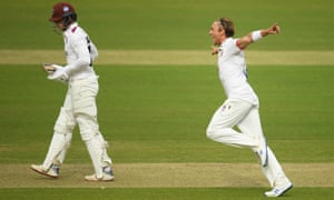 Aaron Beard of Essex celebrates after taking the wicket of Tom Abell of Somerset.