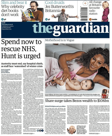 Guardian front page, Thursday 11 January 2018