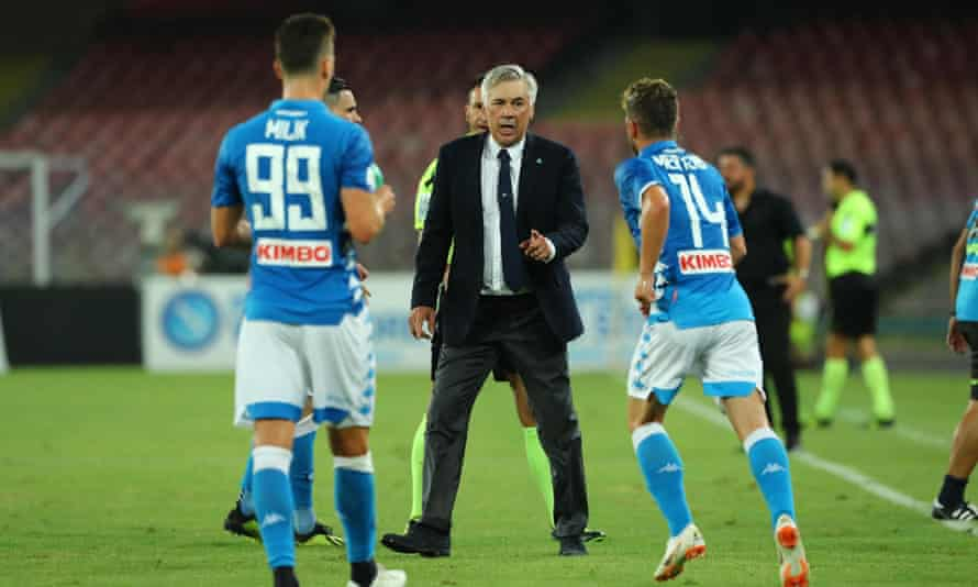 Carlo Ancelotti issues instructions to his Napoli players
