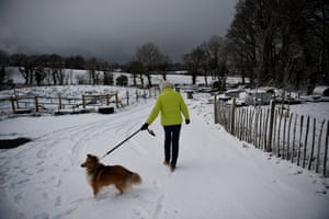 Margaret Kelsey takes her dog Sonny for a walk in the snow in Hillsborough, Northern Ireland