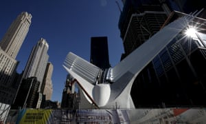 An exterior view of the Oculus structure of the World Trade Center Transportation Hub .