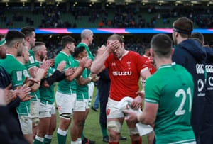Alun Wyn Jones looks dejected at the end of Wales's defeat to Ireland.