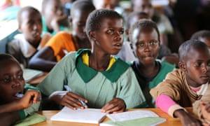 Young Maasai girls follow proceedings during an anti-FGM class in Kajiado county.