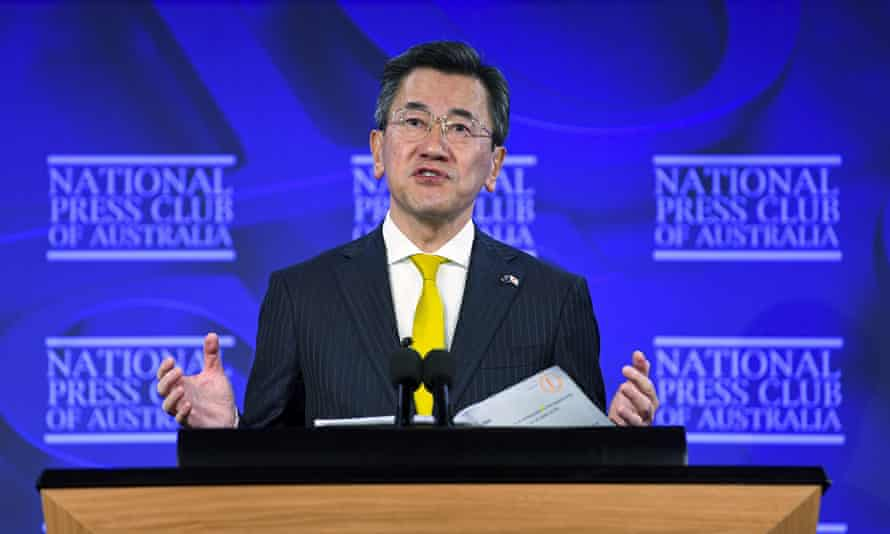 Japan's ambassador to Australia, Shingo Yamagami, addresses the National Press Club in Canberra on Wednesday.