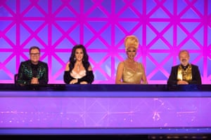 With Alan Carr, RuPaul and Graham Norton on the UK version of RuPaul's Drag Race.