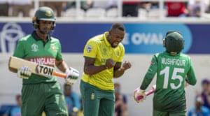 Phehlukwayo celebrates after taking the wicket of Mushfiqur for 78.
