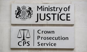 Signage for the Ministry of Justice and the Crown Prosecution Service in Westminster, London
