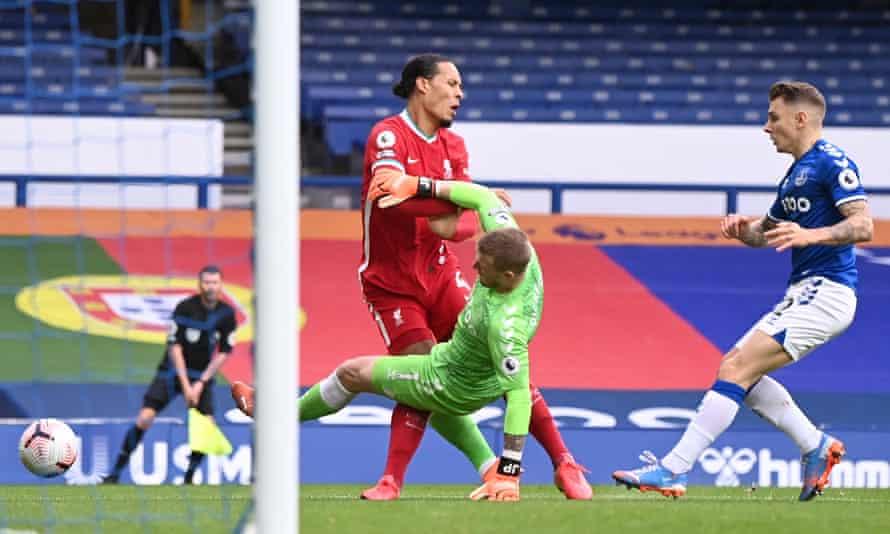 Jordan Pickford's tackle ended Virgil van Dijk's season in October's meeting between Everton and Liverpool.