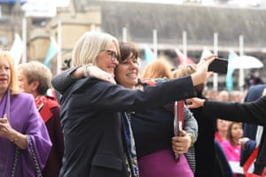 Energy Secretary Claire Perry (right) takes a selfie with a guest