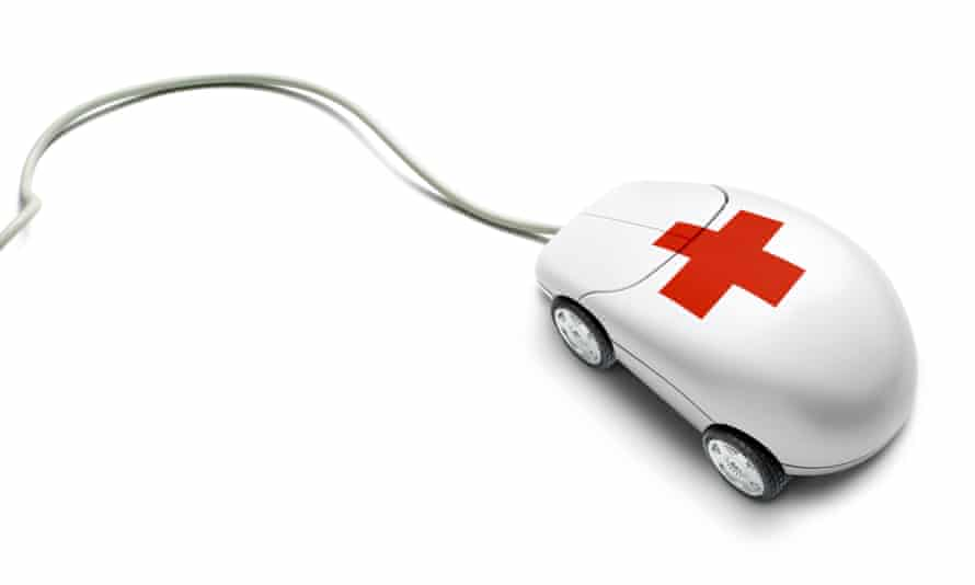 Computer mouse with wheels and a red cross