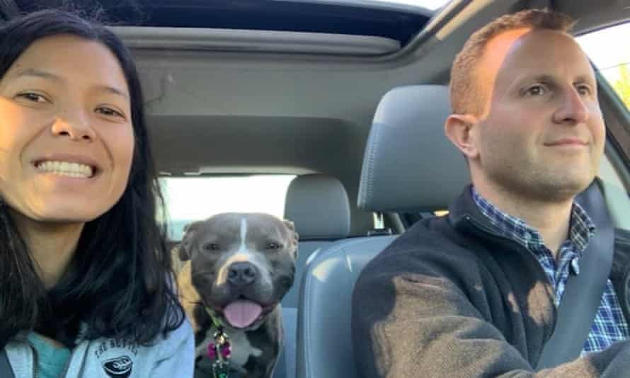 Toni Okamoto and husband Paul Shapiro bring two-year-old pitbull Eddie home from Front Street Animal Shelter in Sacramento, California.