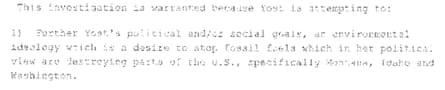 FBI communication on Helen Yost