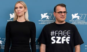 Vanessa Kirby, left, and Pieces of a Woman director Kornél Mundruczó at the Venice film festival.