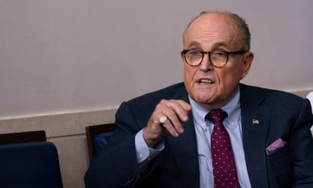 Rudy Giuliani at the White House in late September. MacCallum said to Giuliani: 'I hope that cough is not anything bad while you are waiting for your test to come back.'