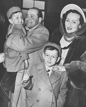 Sala's brother Alex Maguy welcoming  her and her sons, Ronald (Freeman's father, front)  and Richard, to Paris in 1948.