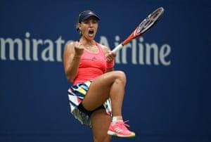 Angelique Kerber celebrates after winning a game against Karolina Pliskova.