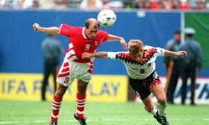 Yordan Letchkov climbs over Thomas Hässler to send Bulgaria into the World Cup semi-finals.