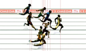 Freezeframe of the Olympic 100m final in Rio