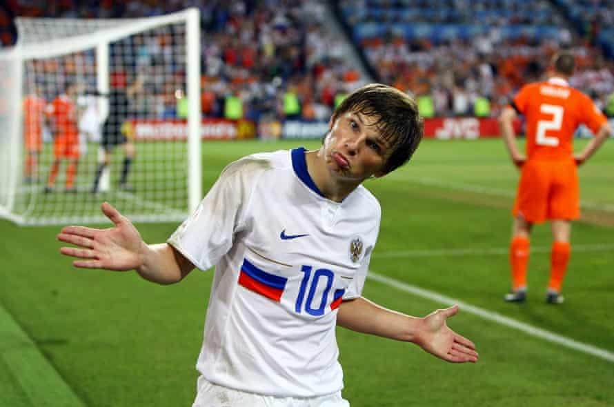 Andrey Arshavin celebrates Russia's third goal during the Euro 2008 quarter-final against the Netherlands at St. Jakob-Park on June 21, 2008 in Basel, Switzerland.