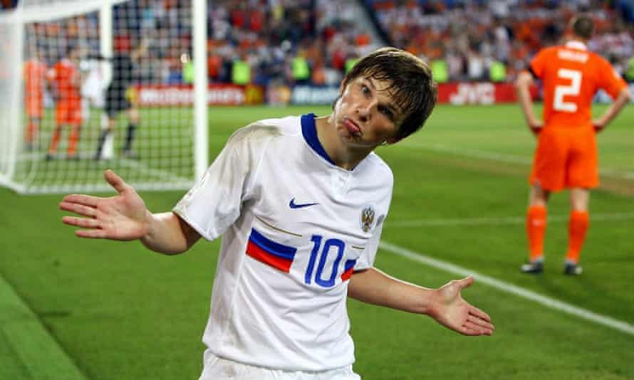 Andrei Arshavin celebrates Russia's winner against the Netherlands at Euro 2008.