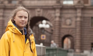 Greta Thunberg outside the Swedish parliament building in Stockholm